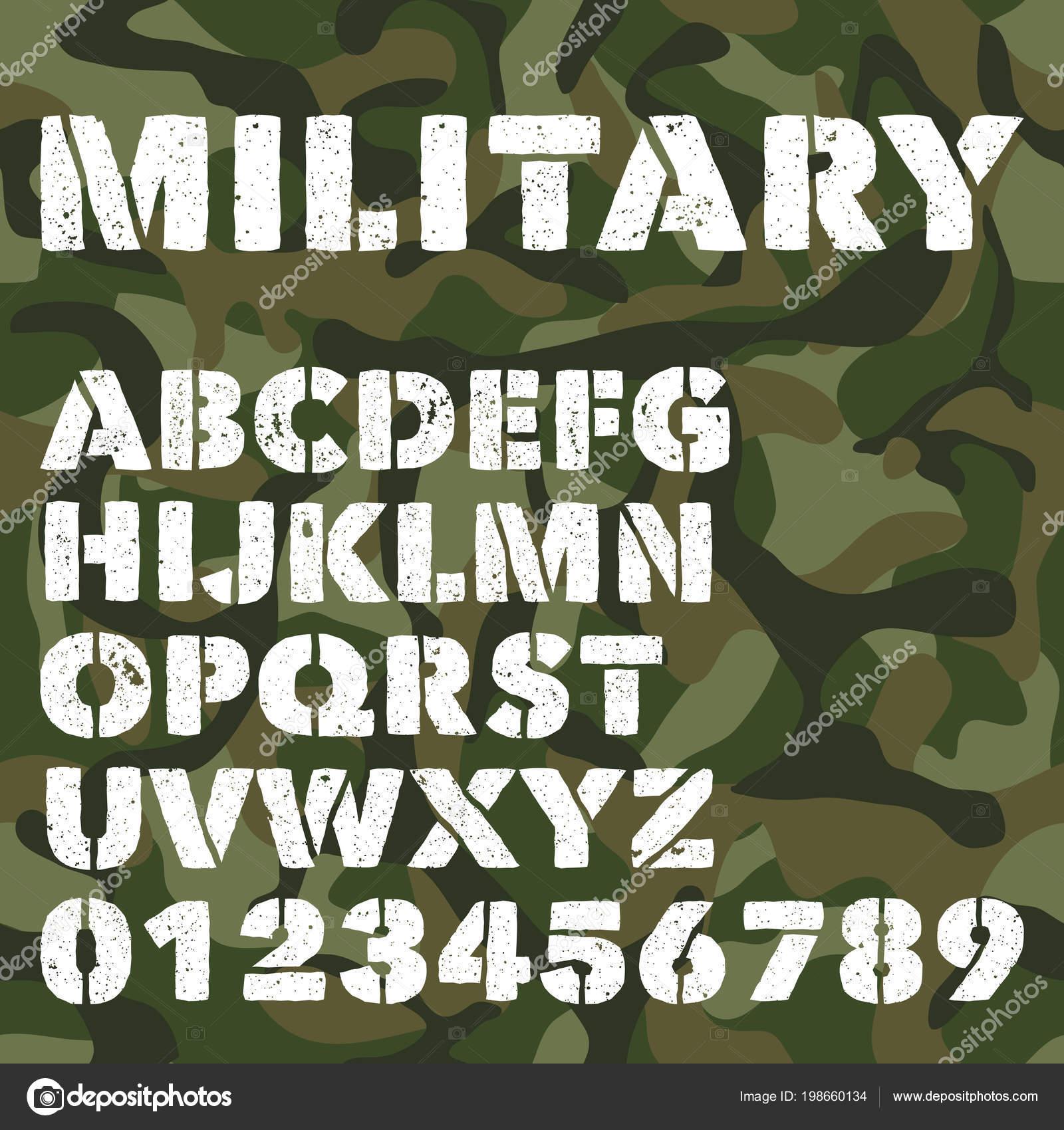 Antigo Alfabeto Militar Bold Realce Letras E Números Em