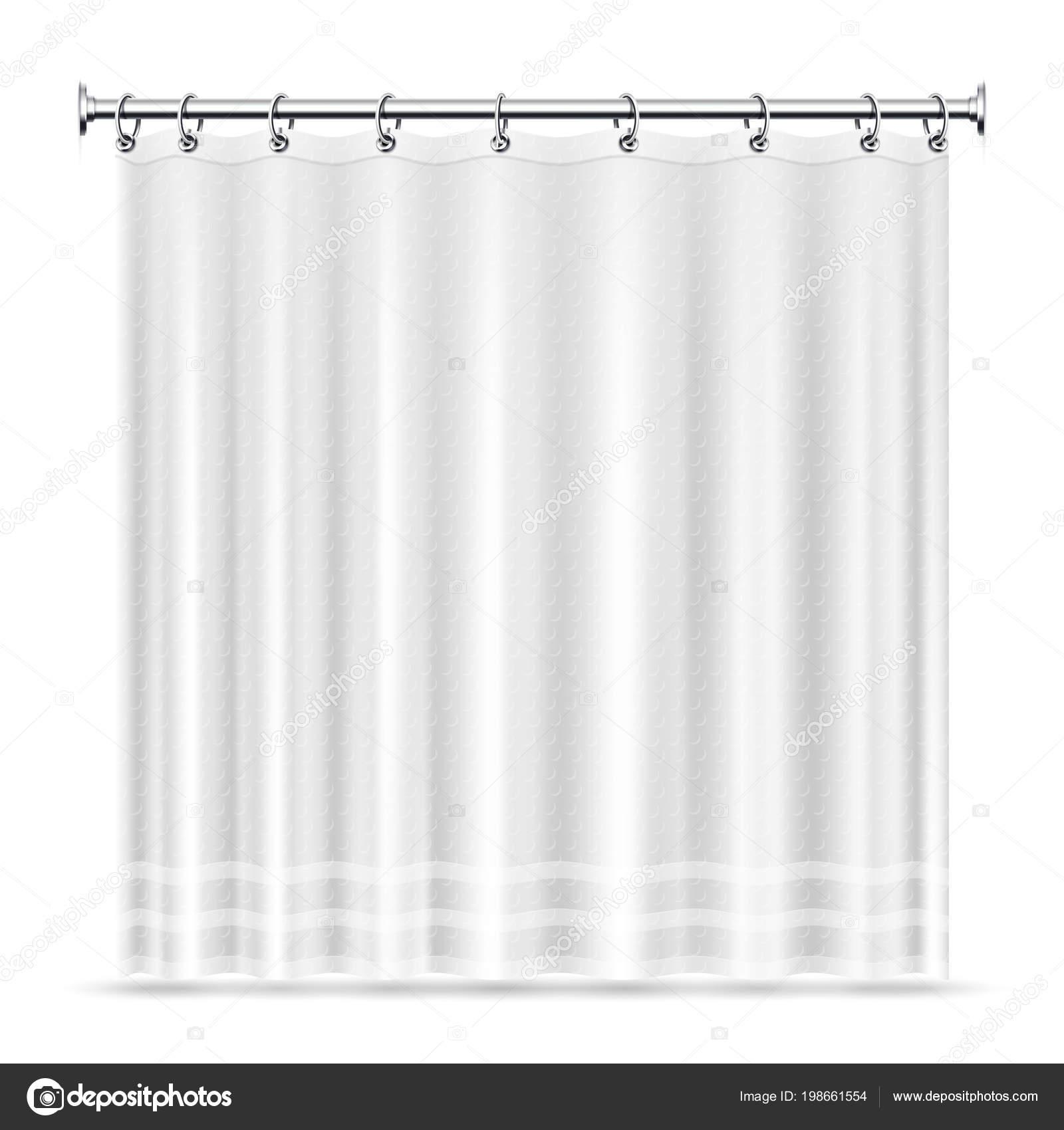 Cortinas de baño realista vector plantilla interior de cuarto de ...