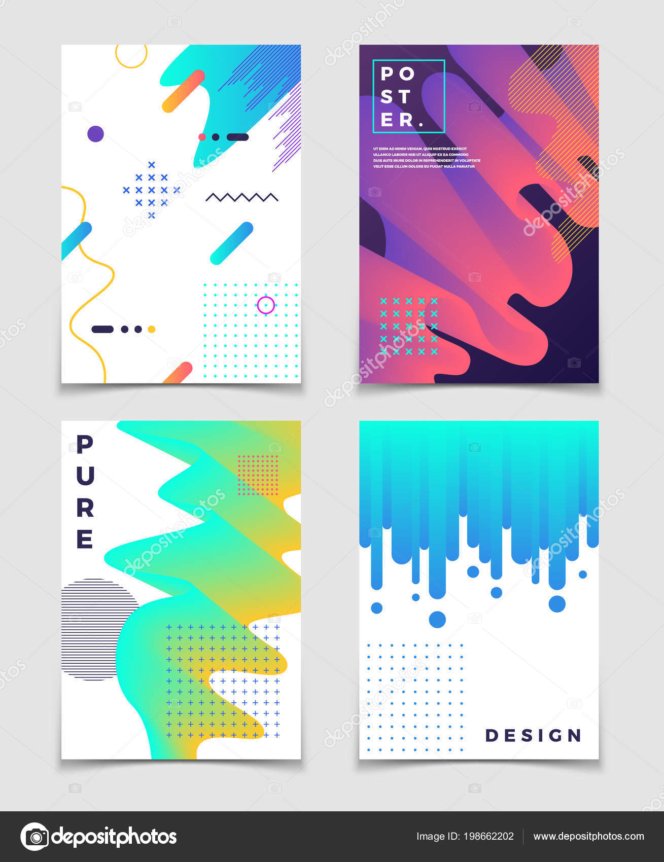 61f1c837ec812 Futuristic abstract 3d fluid oil with memphis pattern elements. Modern  party vector posters. Brochure and flyer poster with colored futuristic  fluid ...