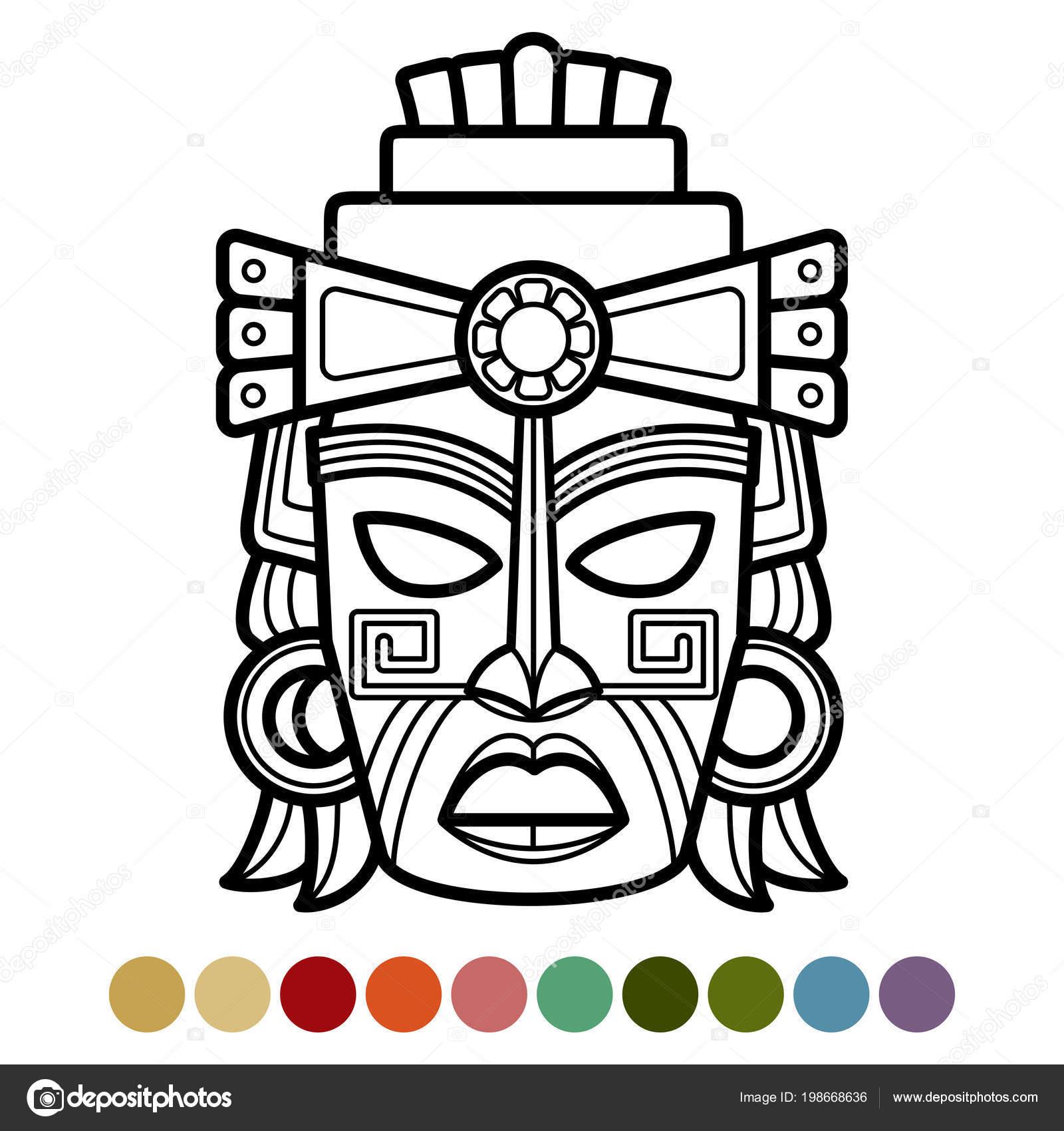 Máscara Mexicana Africana Azteca Página Para Colorear