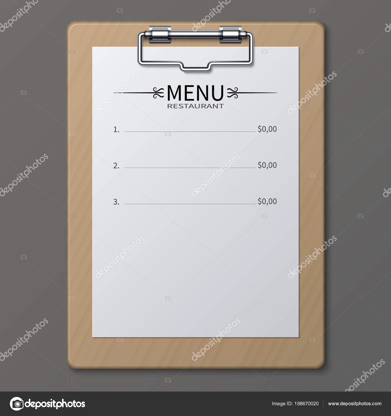 classic restaurant menu on paper sheet in clipboard vector template