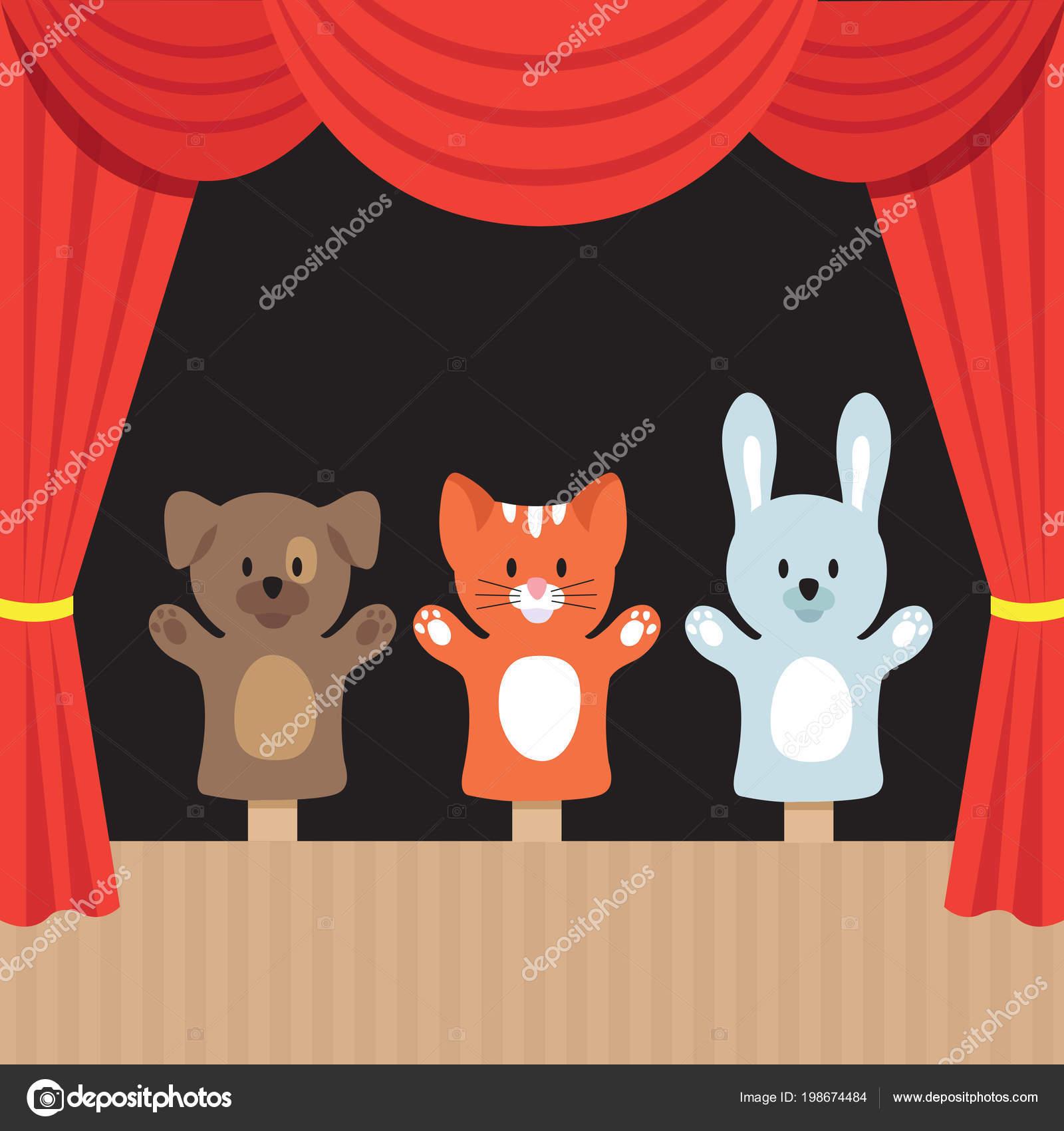 Escena Niños Títeres Con Y Cortina De Animales Lindos Teatro Para 8wmNOnv0