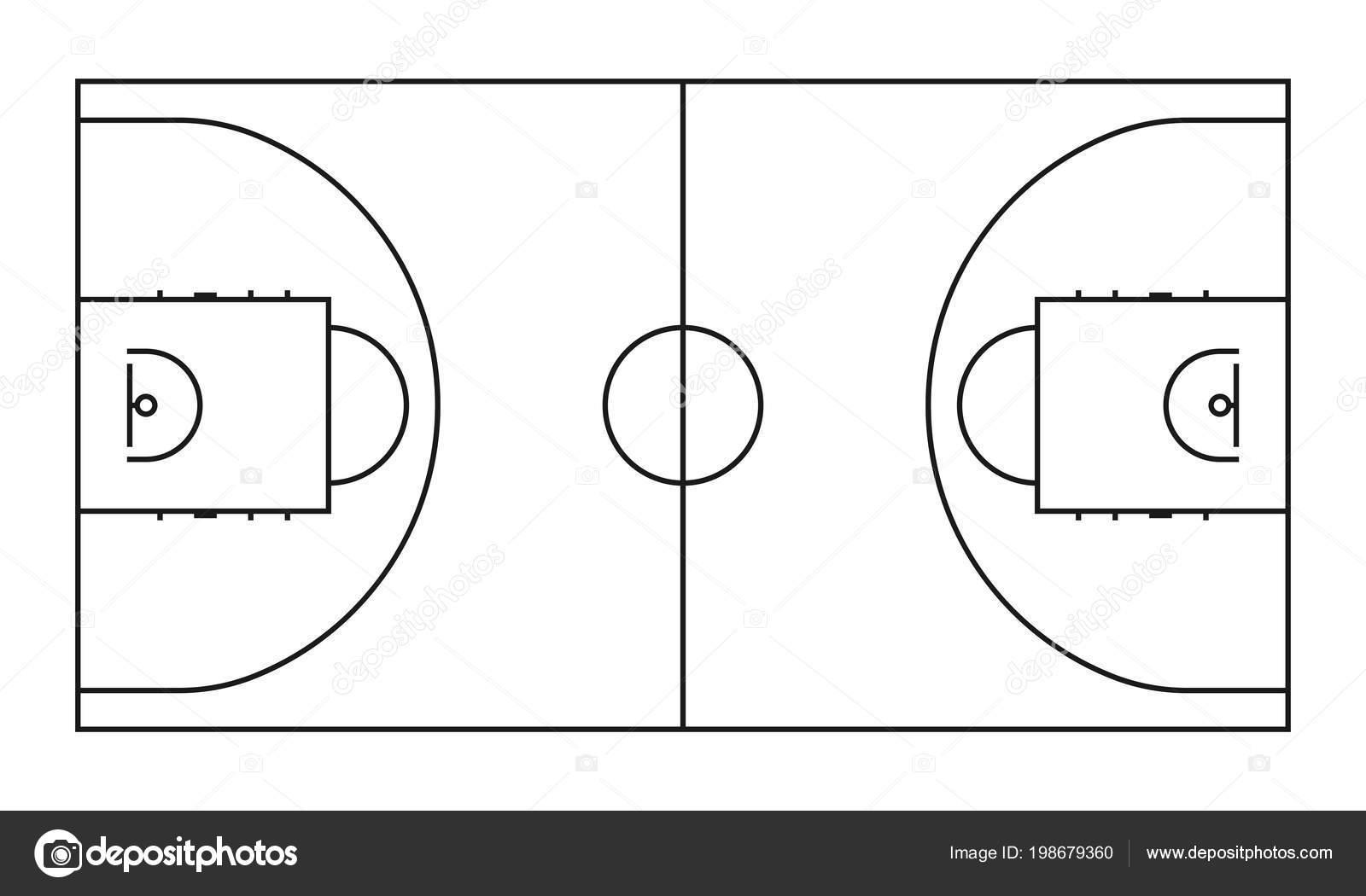 fondo de vector de l u00ednea de corte de baloncesto  campo de deportes del baloncesto de contorno