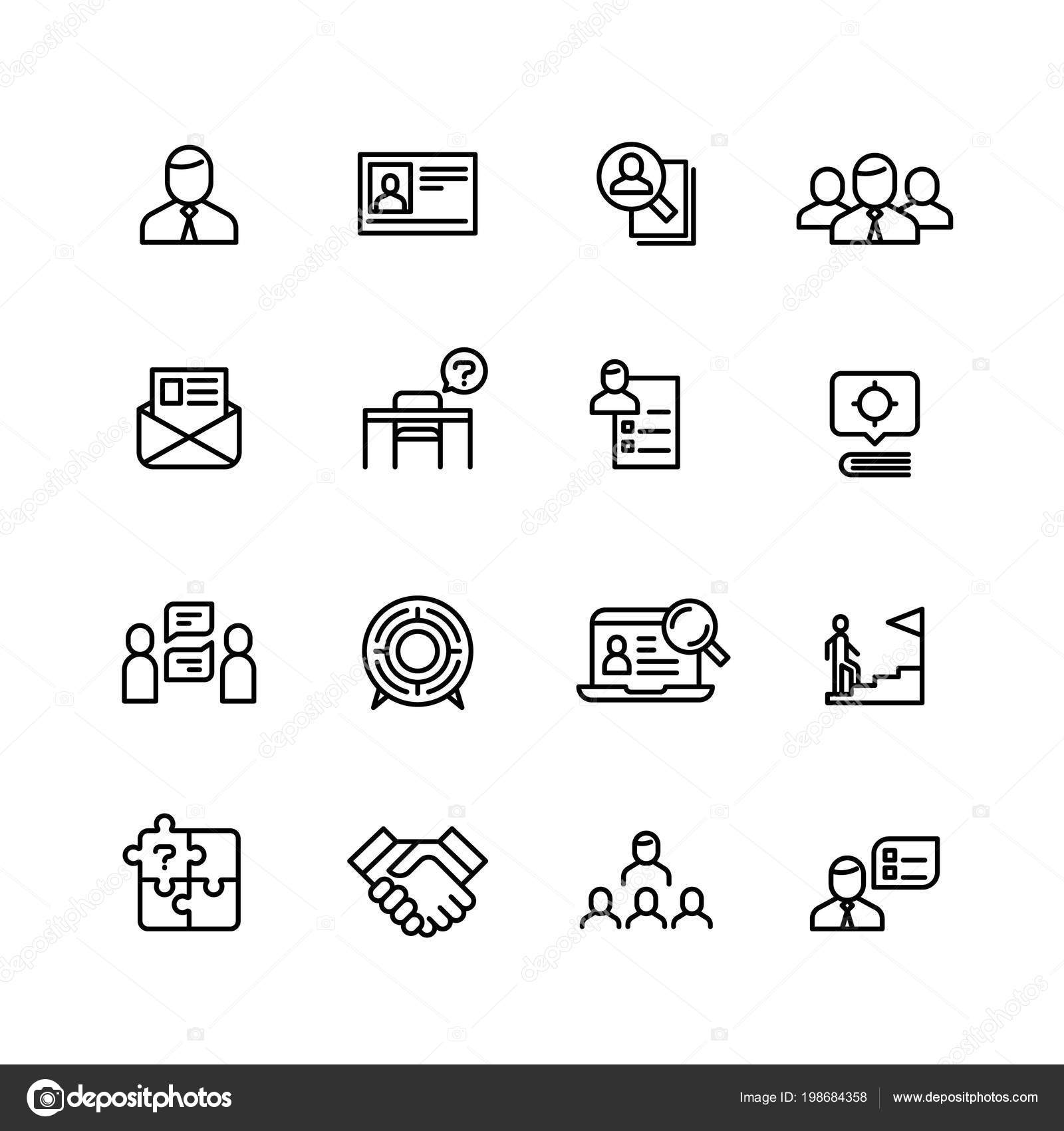 head hunting professional people management line icons search for employees job and career