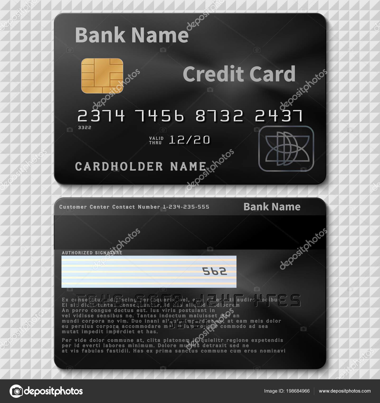 Realistische Schwarze Bank Credit Plastikkarte Mit Chip