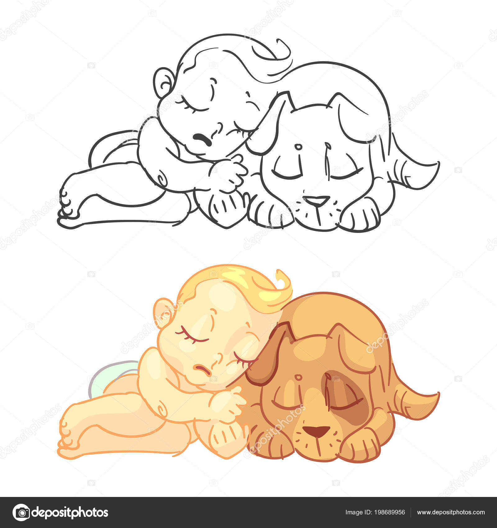 Cute Baby Dog Coloring Page Colorful Sample Vector Illustration