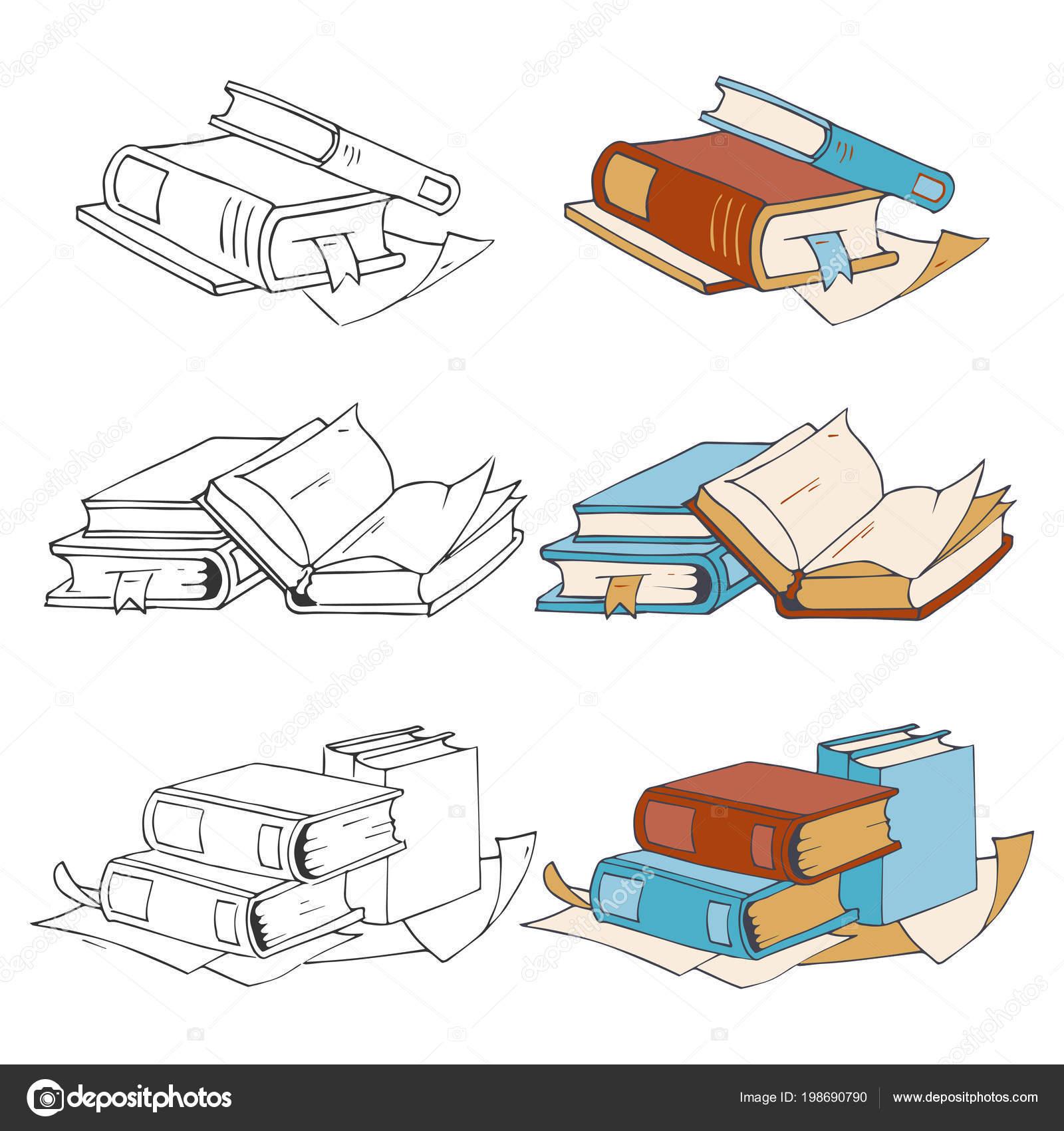 Doodle Esbozo Dibujado Mano Libros Iconos Y Elementos Para Colorear