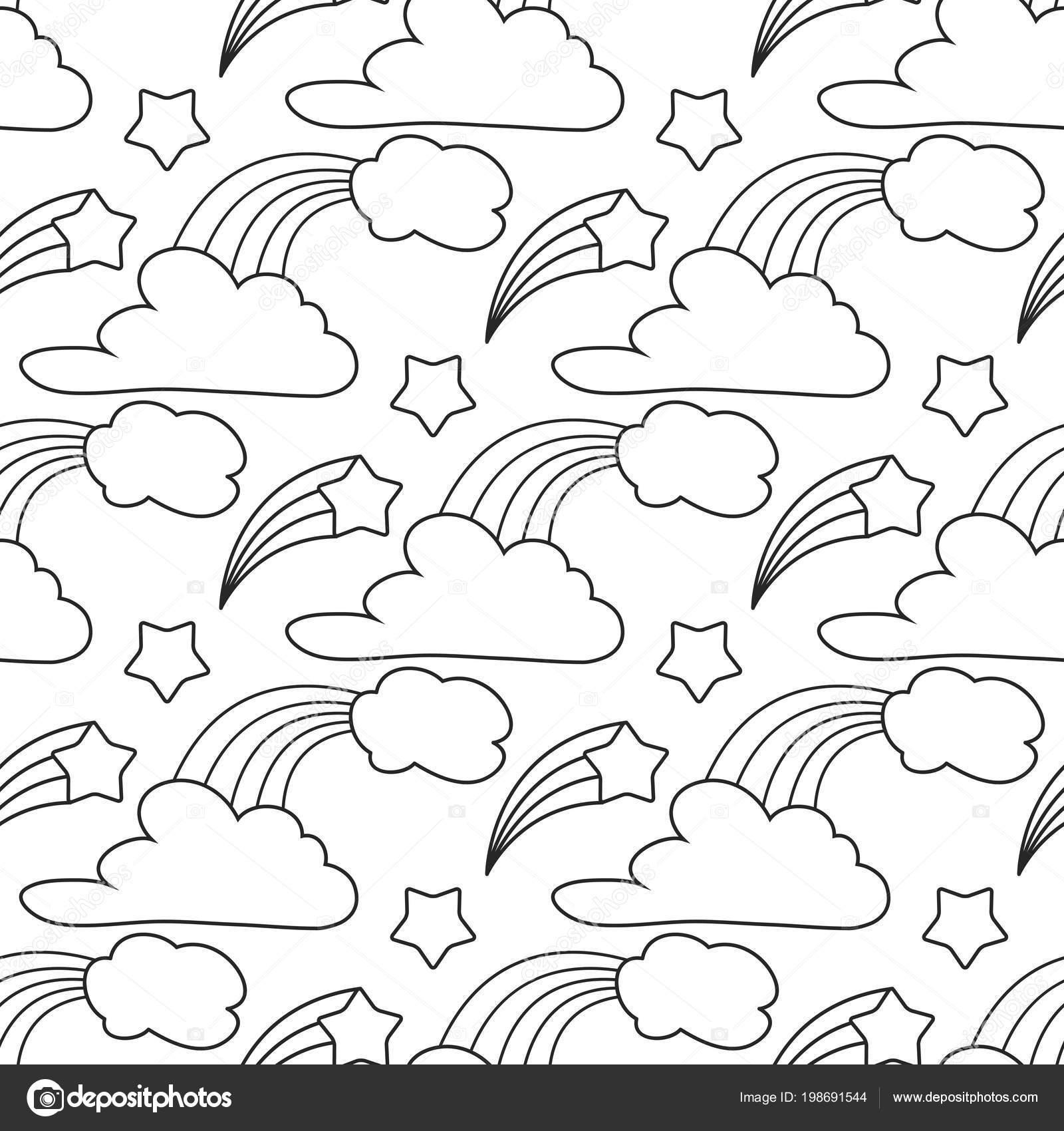 Bulutlar Yıldız Gökkuşağı Seamless Modeli Boyama Kitabı çocuklar