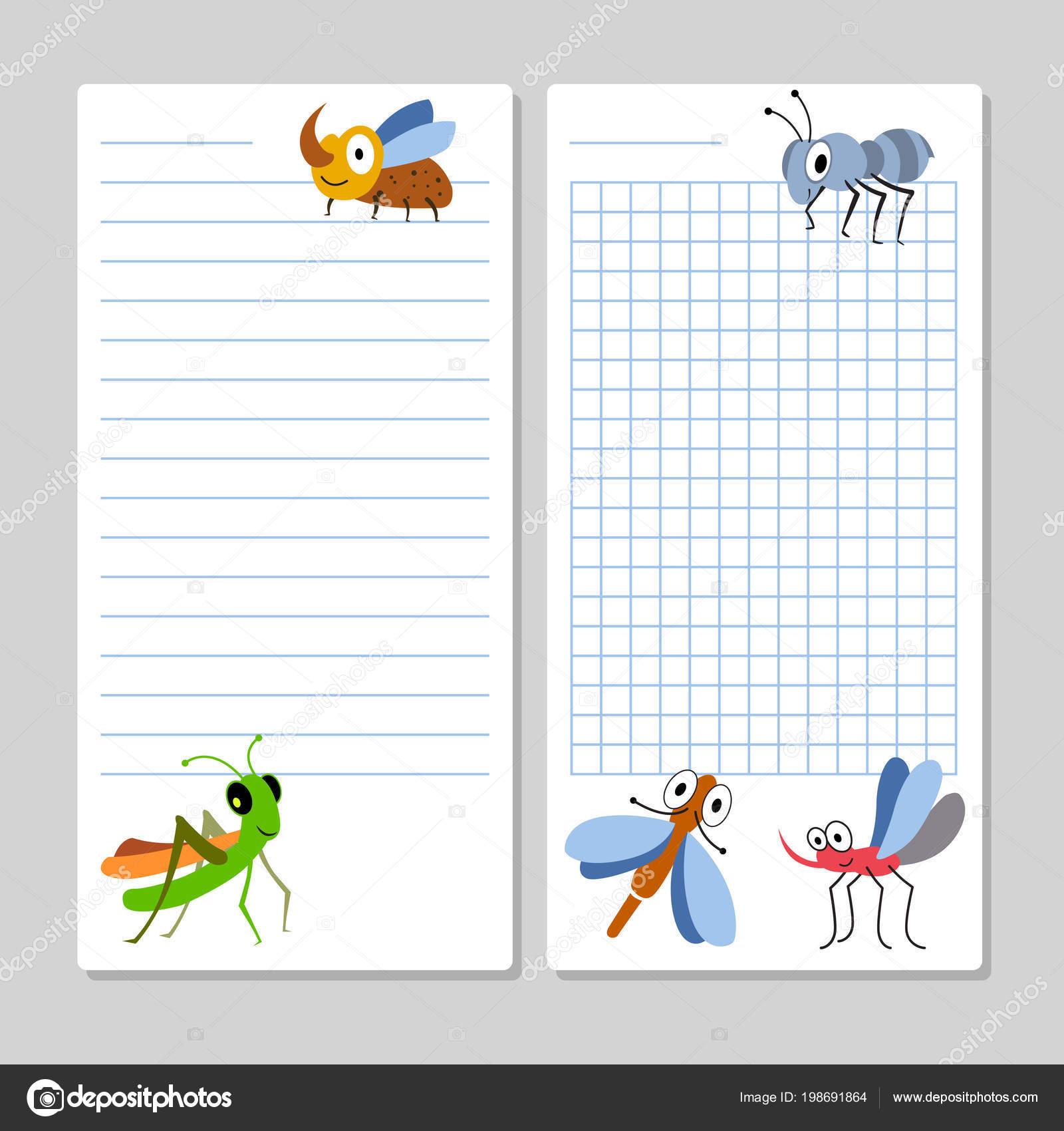 Notebook-Seiten-Vorlage mit Cartoon Insekten gefüttert — Stockvektor ...