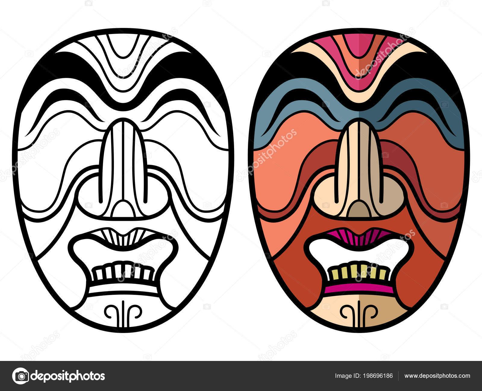 Meksika Hint Aztek Geleneksel Maskeleri Stok Vektör Microone