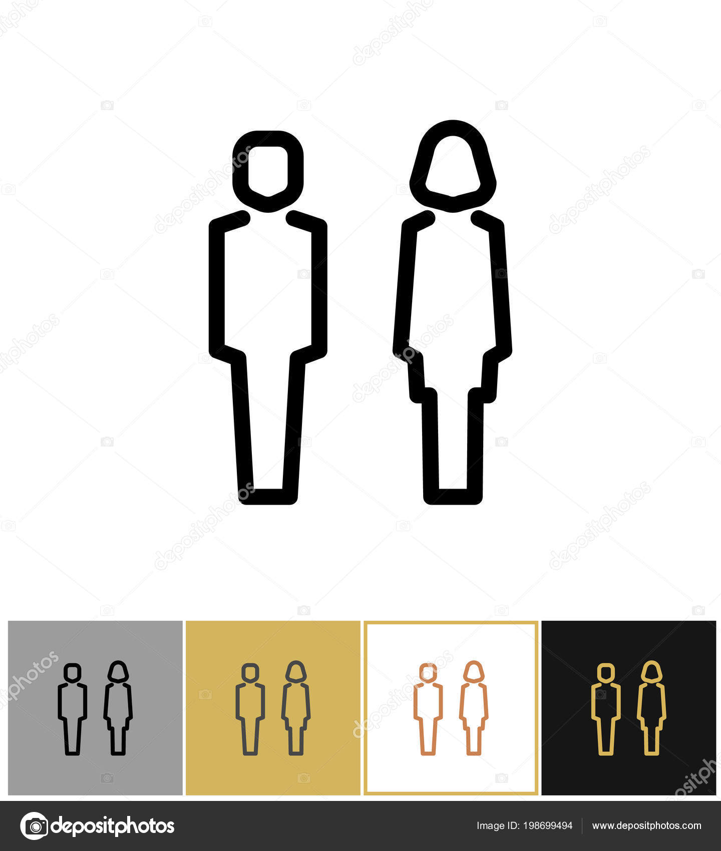 Man And Woman Icon Boy And Girls Bathroom Symbols Stock Vector