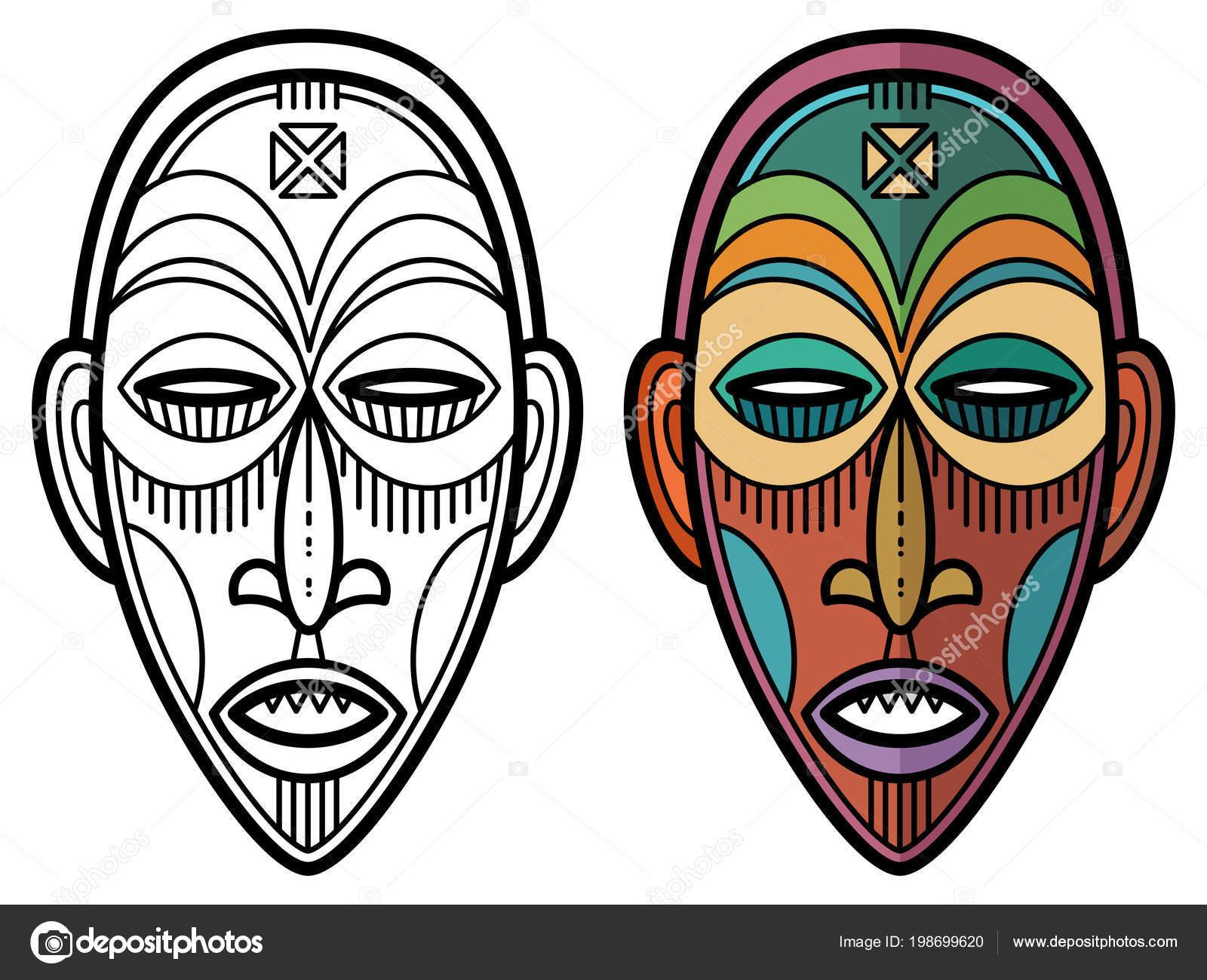 Kleurplaten Maskers Afrika.Indiase Azteekse Afrikaanse Mexicaanse Historische Masker