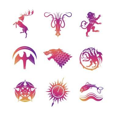 Heraldic vector icons with animals