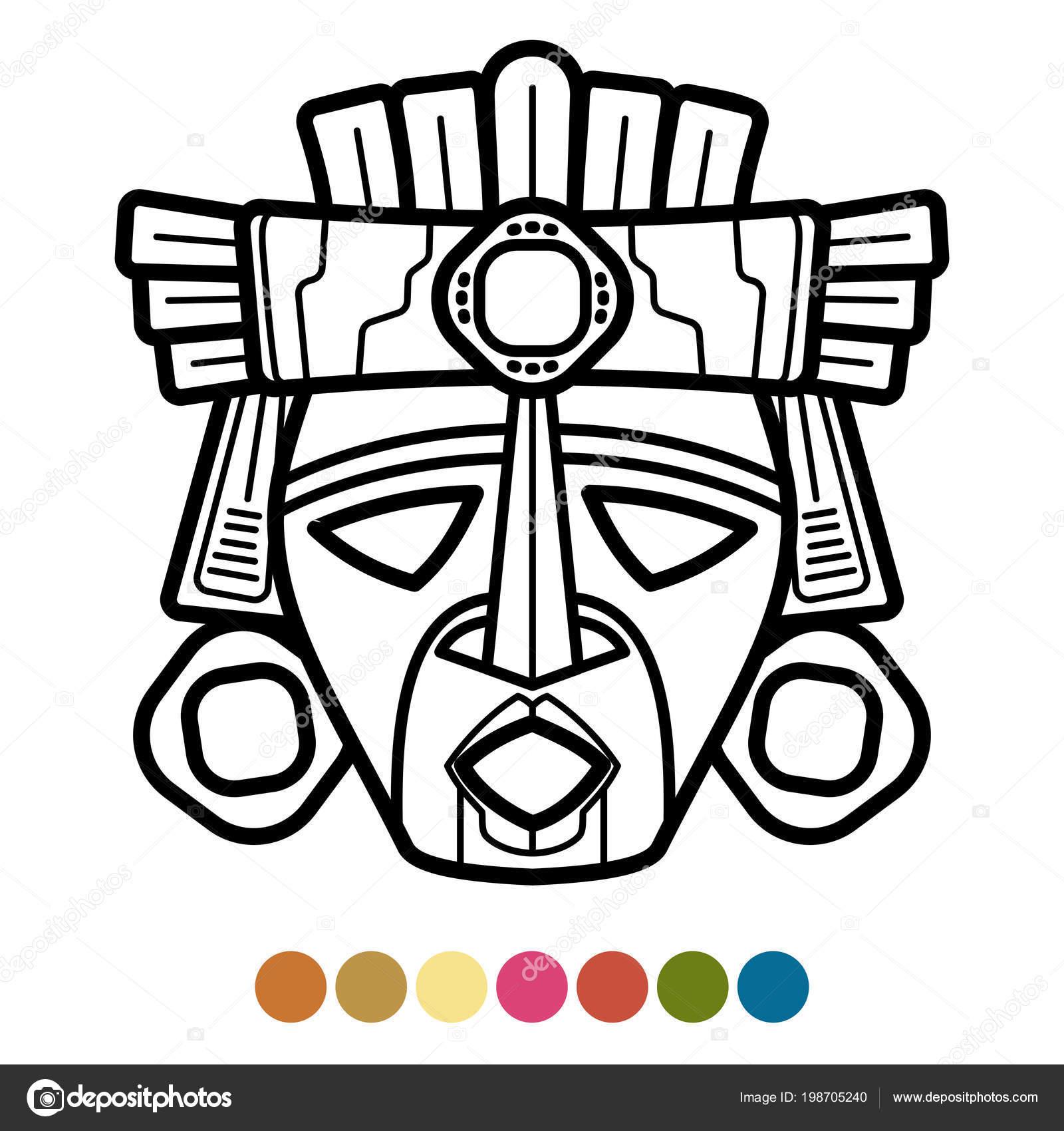 Kleurplaten Maskers Afrika.Kleuren Atzec Afrikaanse Mexicaanse Masker Stockvector