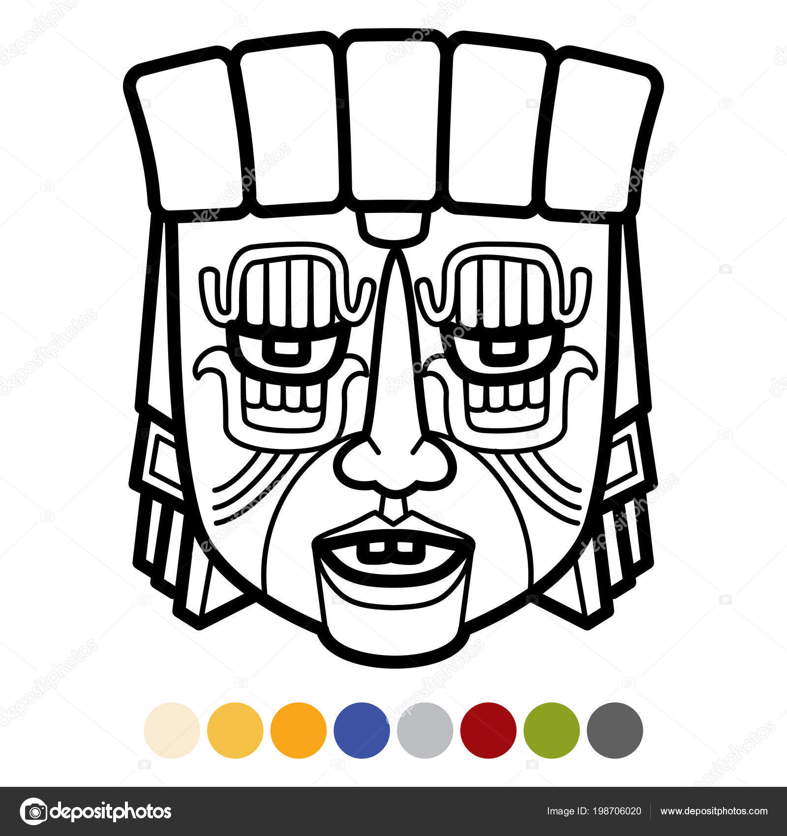Kleurplaten Maskers Afrika.Indiase Azteekse Afrikaanse Mexicaanse Masker Stockvector