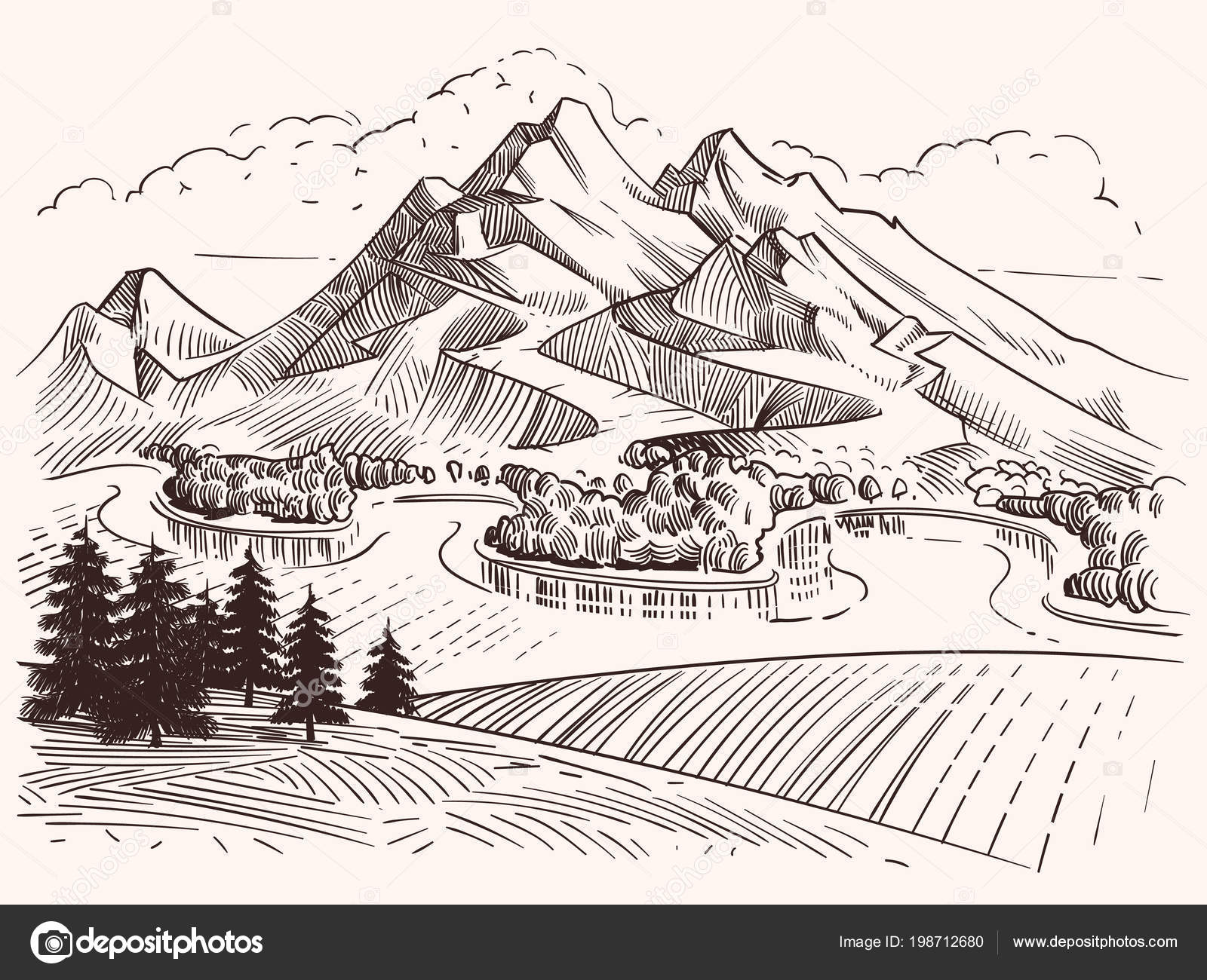Paesaggio Di Montagna Disegno.Drawings Drawing Mountains Pencil Drawing Mountain Landscape