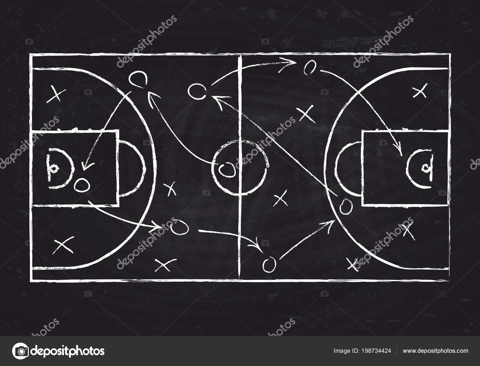 Et Ball Tableau Noir Avec Cour Stratégie De Système Basket Jeu uTJ5F1Kc3l