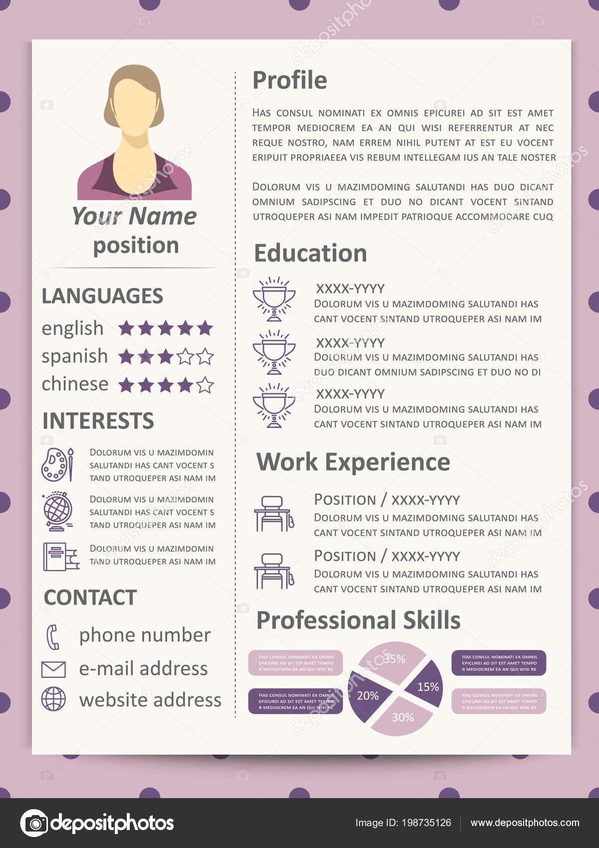 Plantilla curriculum femenino con elementos de infografía e iconos ...