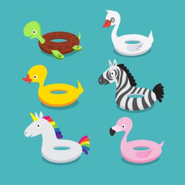 Swimming pool floats, inflatable animals flamingo, duck, unicorn, zebra, turtle, swan