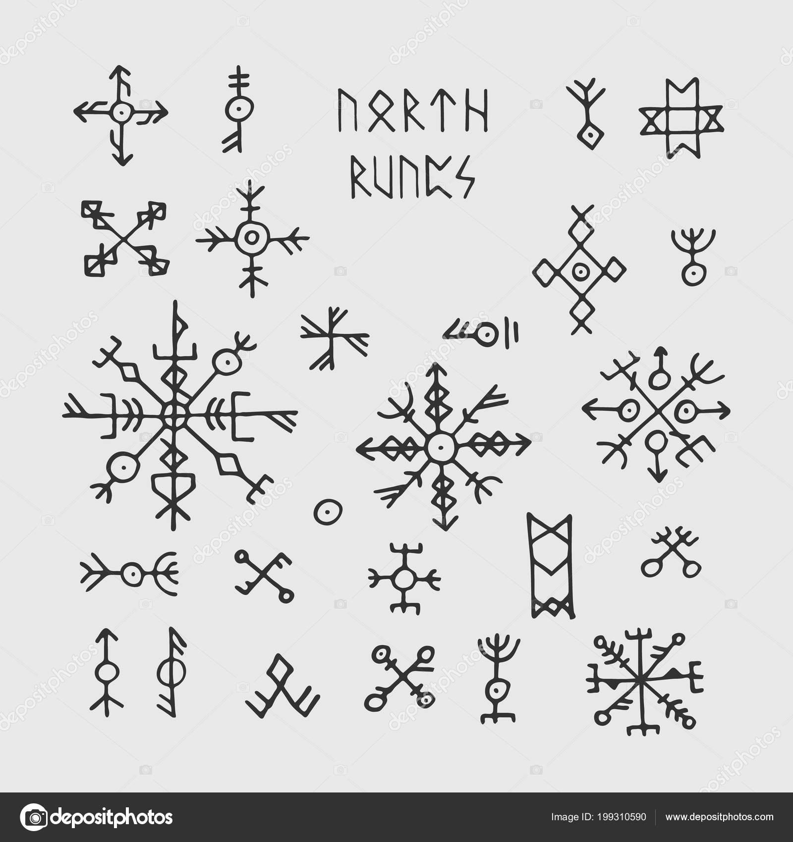 nordische wikinger runen futhark und talismane nordische heidnische vektor okkulte symbole f r. Black Bedroom Furniture Sets. Home Design Ideas