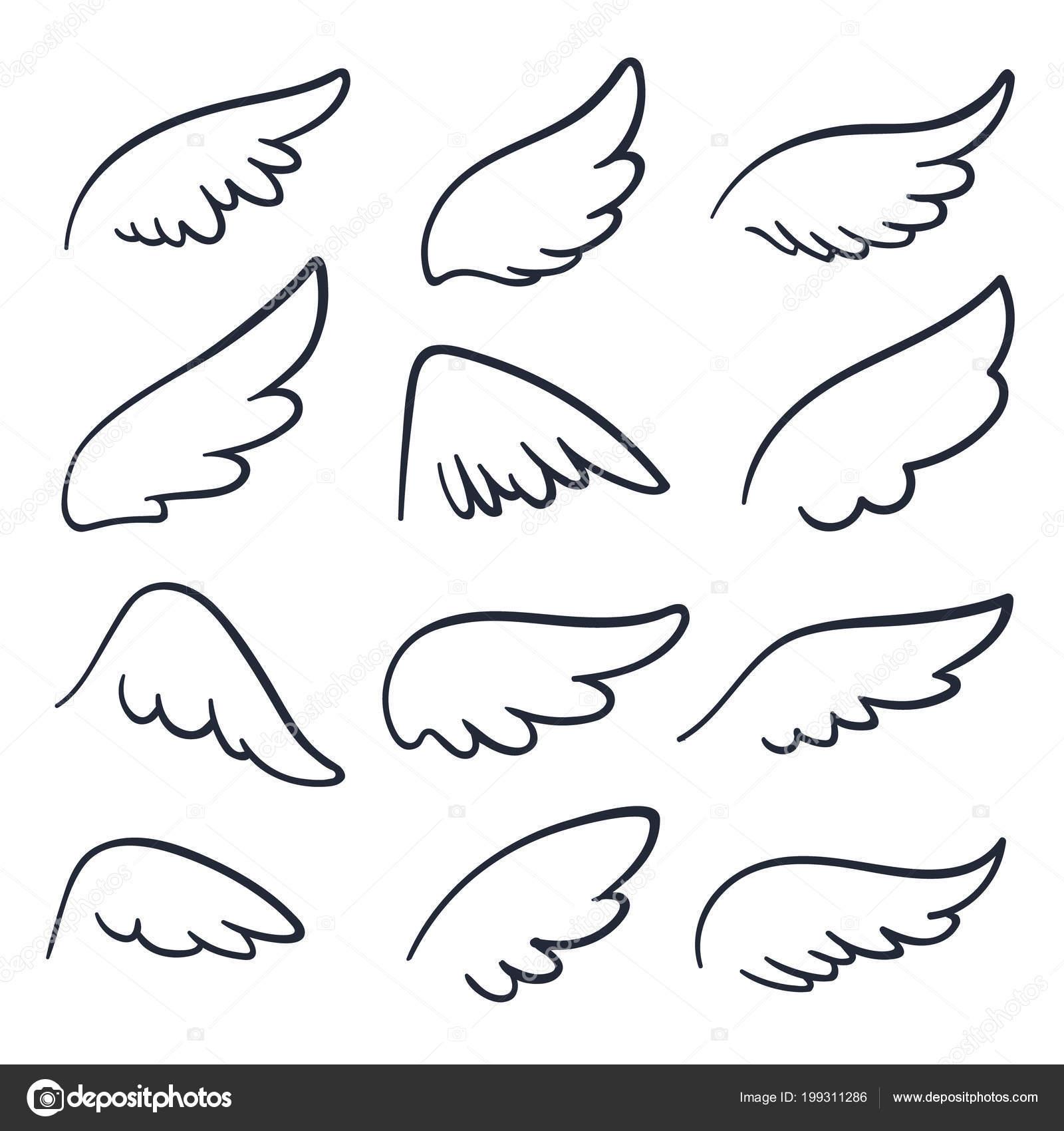 Ailes D Ange Dessin ailes d'ange en dessin animé. icônes de doodle ailé de croquis