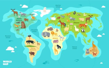 Cartoon world map with animals, oceans and continents. Funny geography for kids education vector illustration