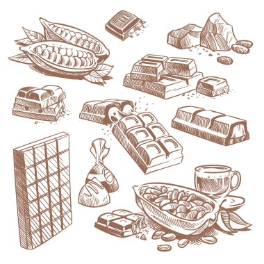 Hand drawn sweet chocolate bars, candies with praline and cocoa beans. Sketch dessert vector set isolated