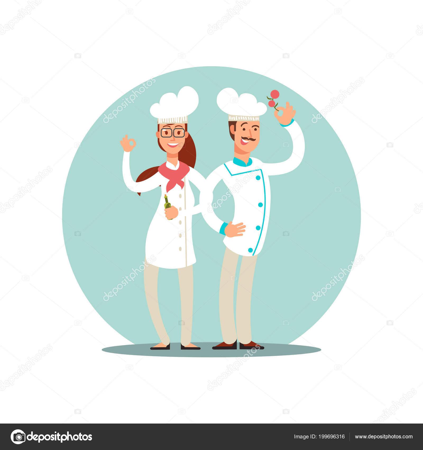 Smiling restaurant chefs, professional cooks in kitchen uniform flat ...