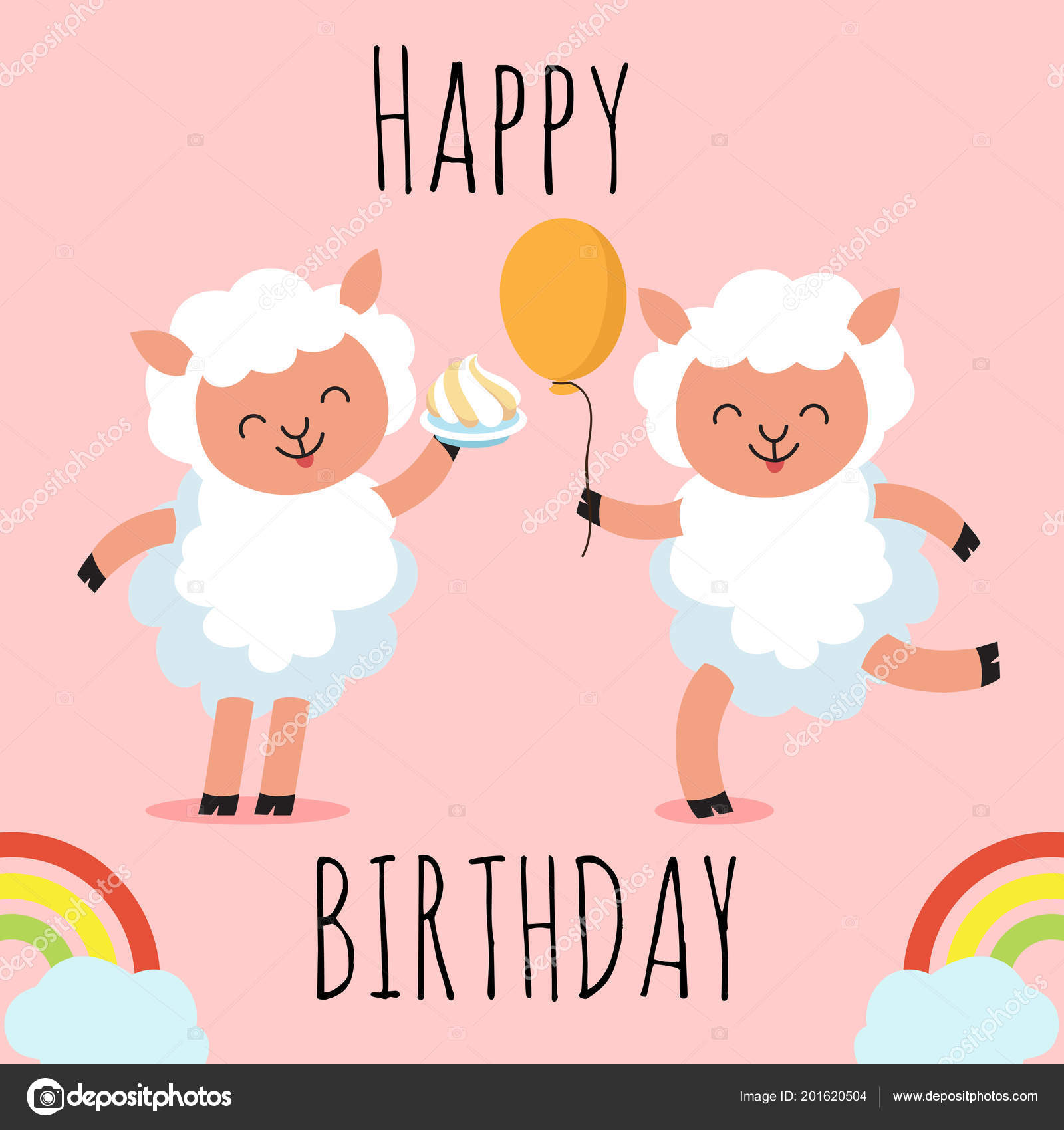 Happy Birthday Greeting Card With Cute Cartoon Character Sheep Stock Vector