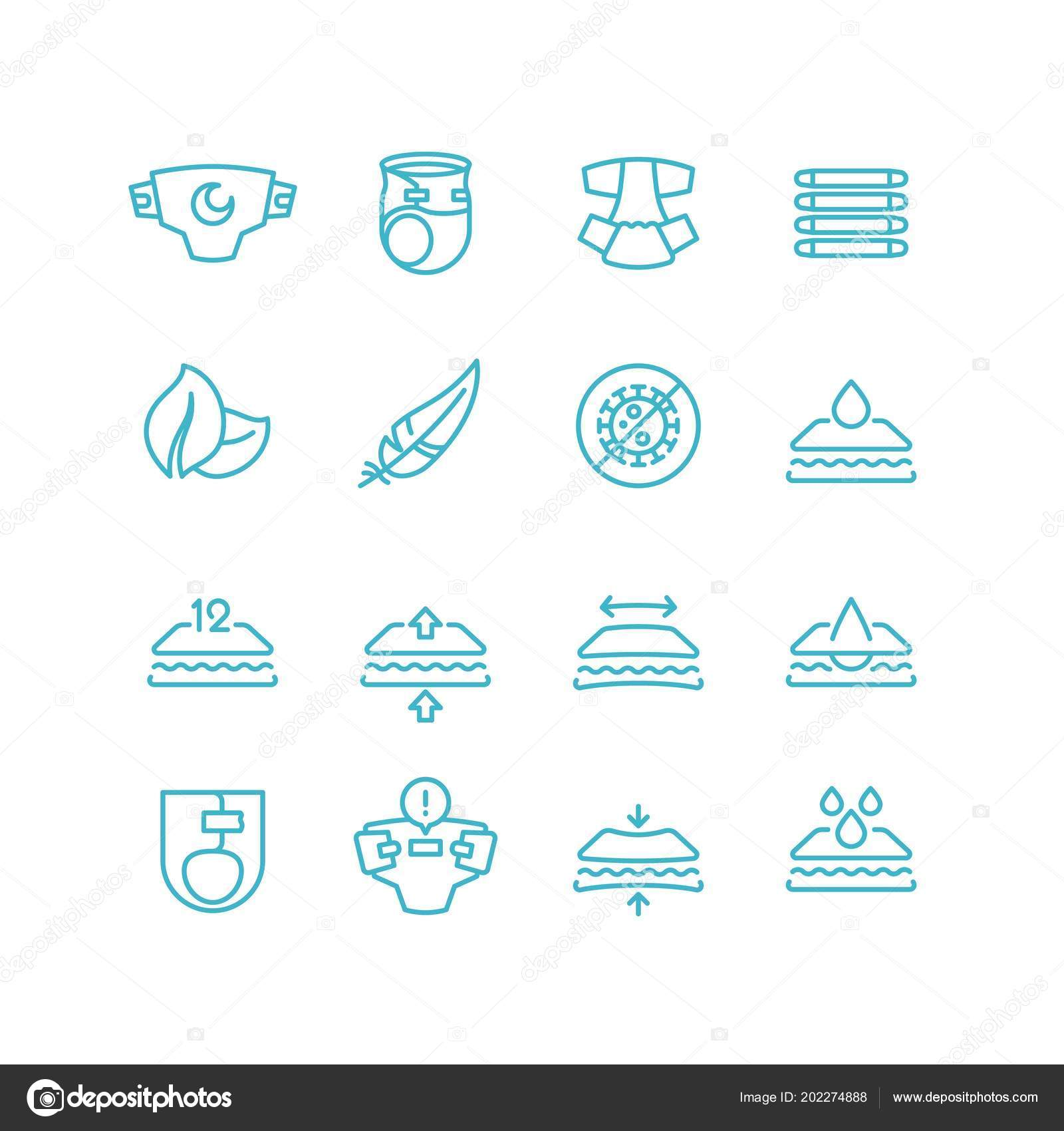 Disposable Baby Diaper And Characteristics Line Icons Absorbent