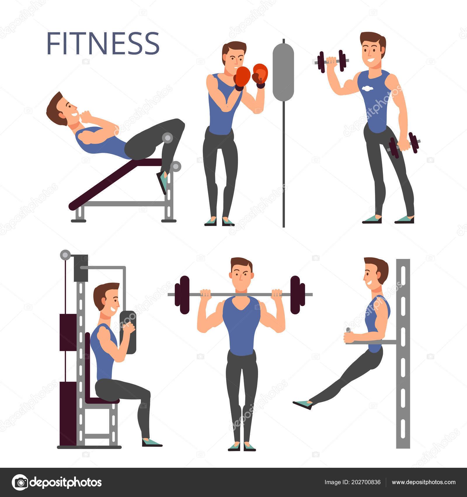 Fonkelnieuw Gym exercises, body pump workout vector set with cartoon sport man ZK-41