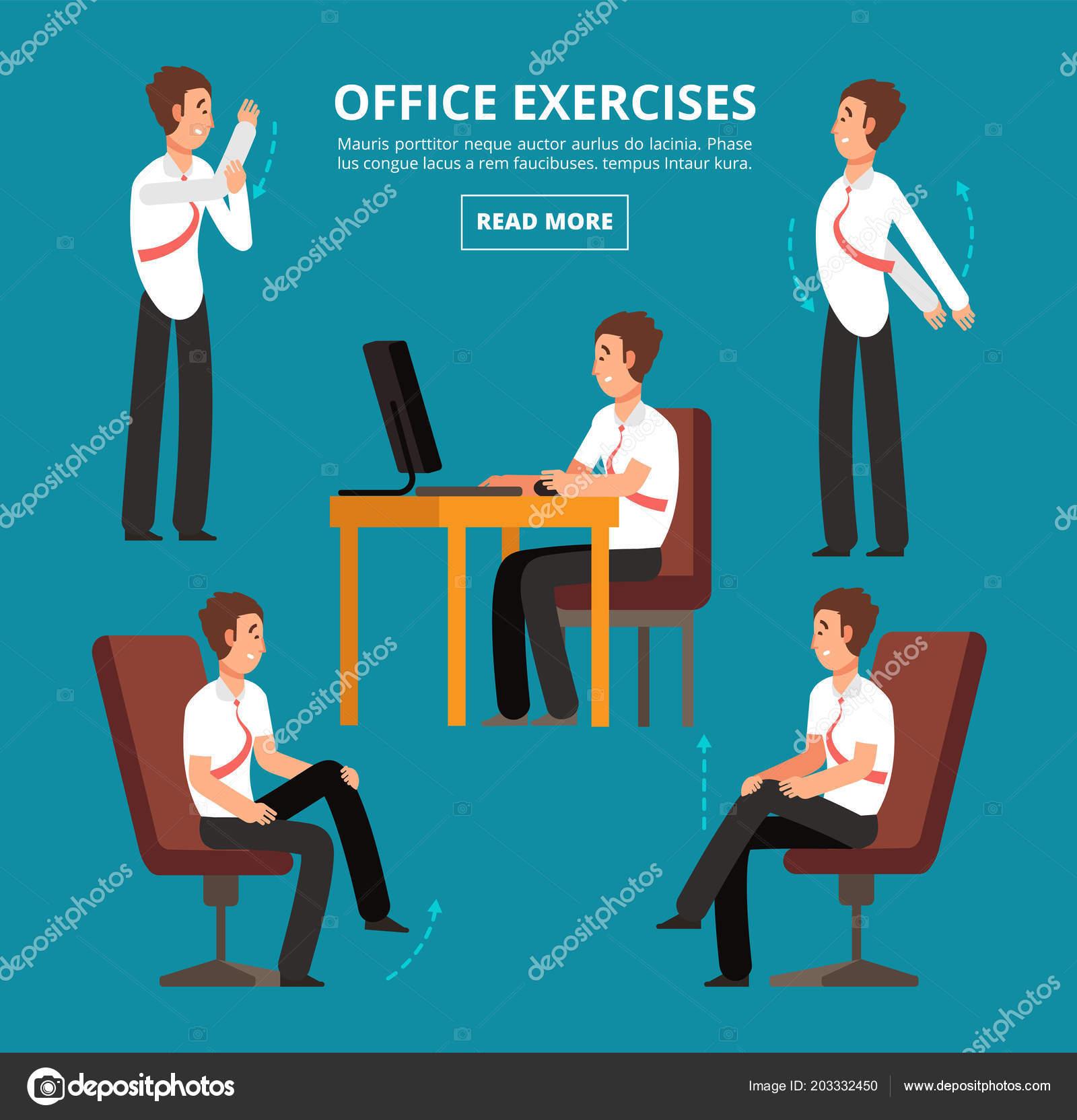 Büro übungen Schreibtisch Diagramm Für Gesundheit Mitarbeiter Vektor