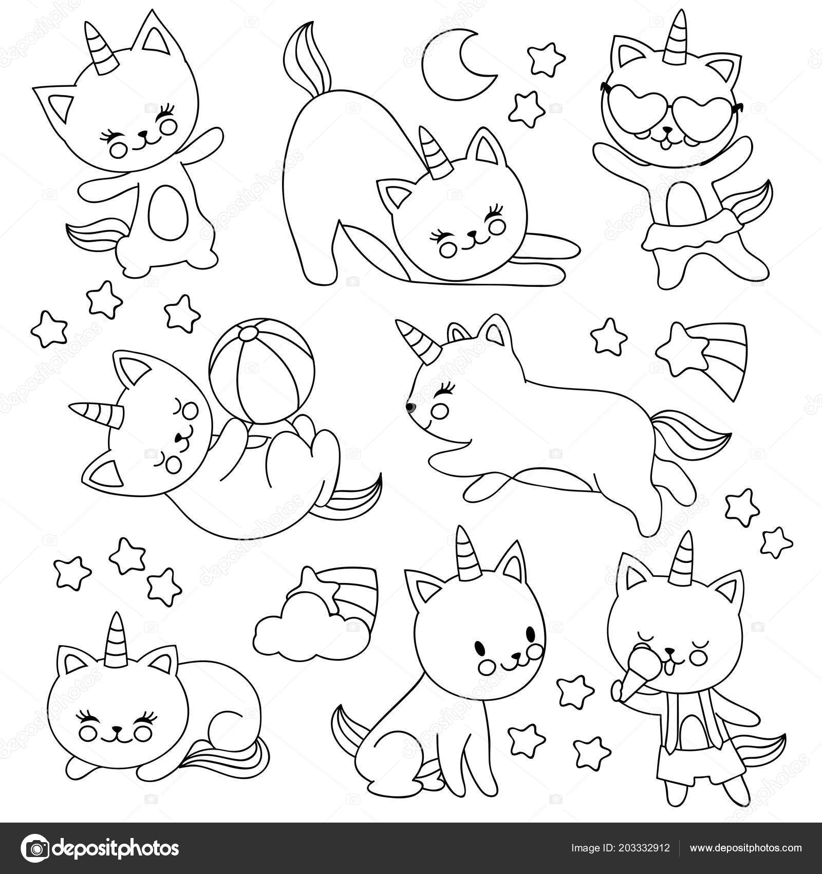 Hand Drawn Cute Flying Unicorn Cats Vector Cartoon Characters For