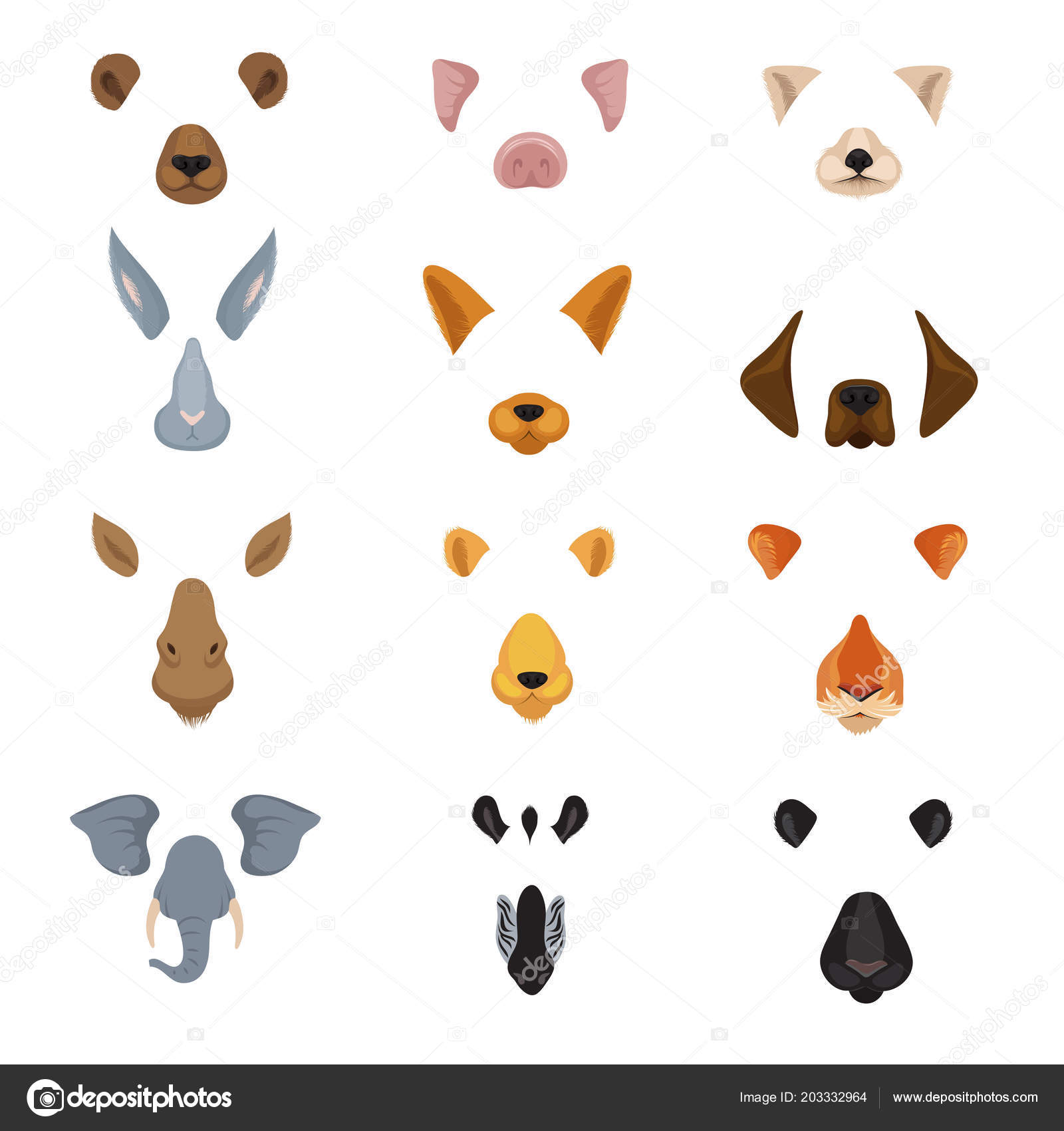Image of: Dogs Funny Animal Faces For Phone Video Chart App Cartoon Animals Ears And Noses Vector Set Bollyberg Funny Animal Faces For Phone Video Chart App Cartoon Animals Ears