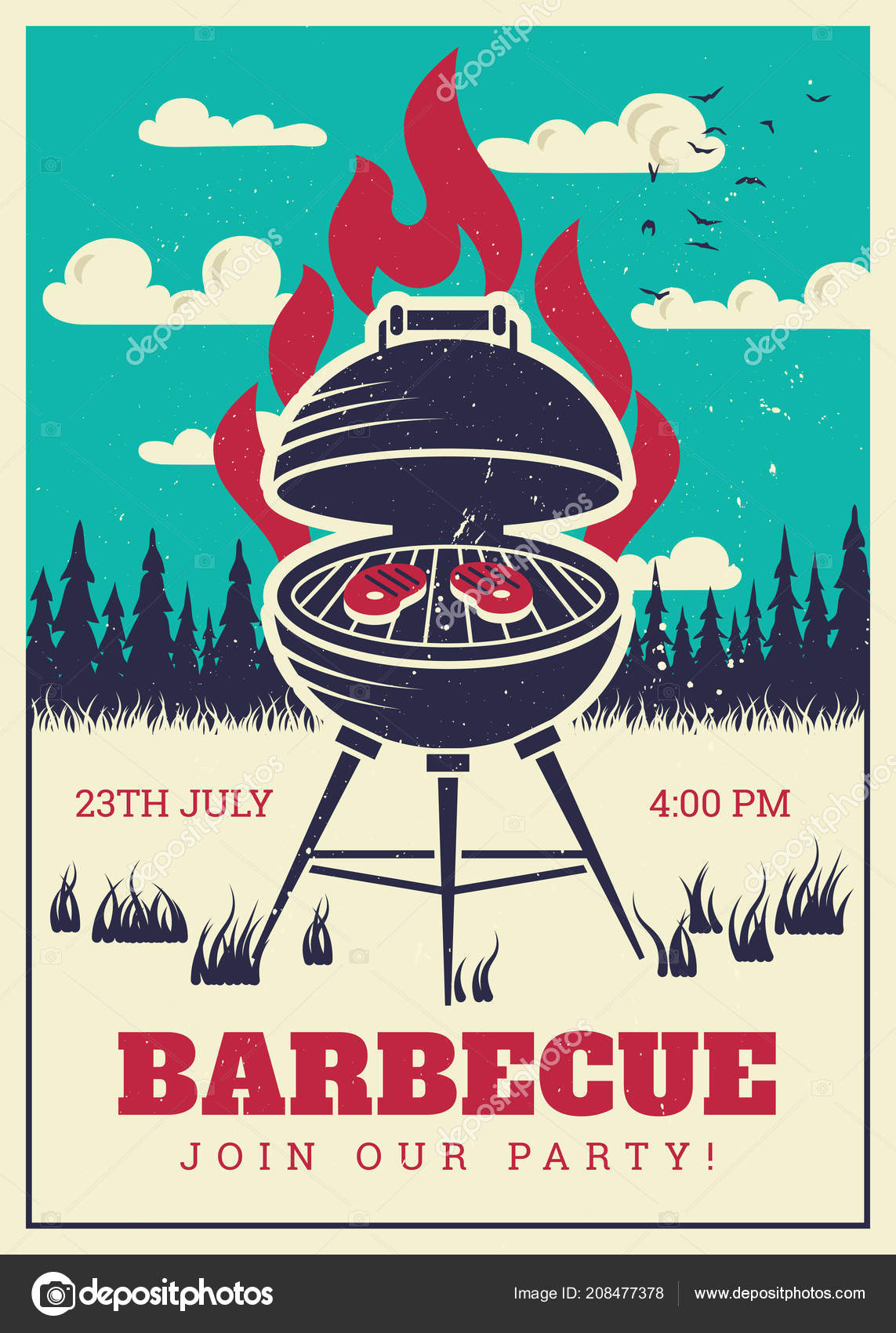 vintage bbq grill party poster delicious grilled burgers family