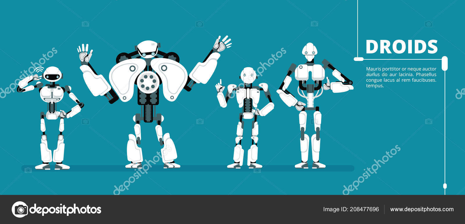 Cartoon Robot Android Cyborg Group Artificial Intelligence Vector