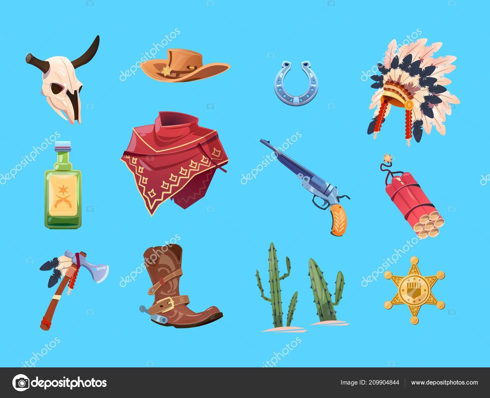 Wild West Cartoon Set Cowboy Boots Hat And Gun Bull Skull Indian