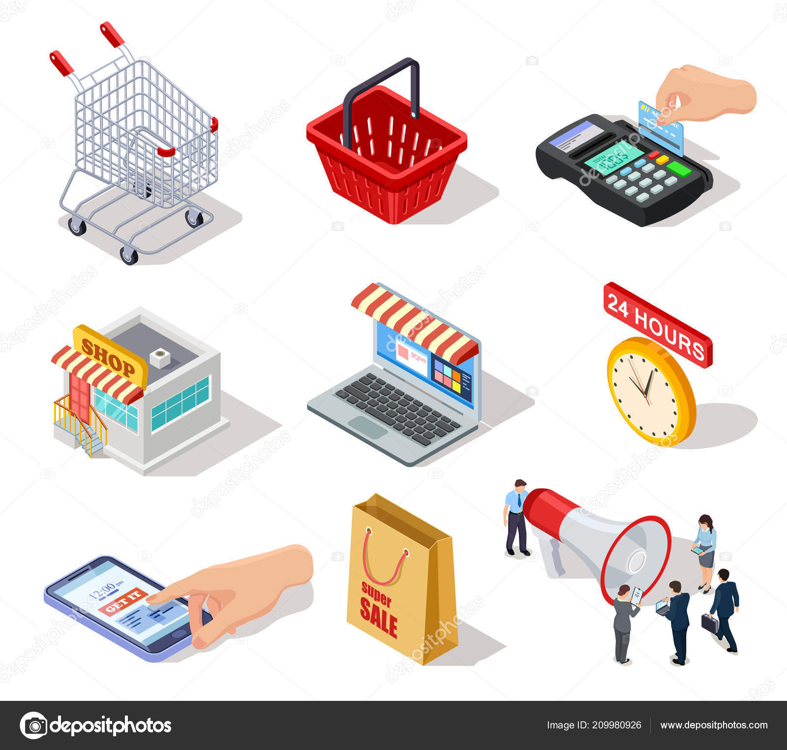 2ebba5a47eb528 Isometrische shopping Icons. E-Commerce-Online-Shop und Internet ...