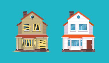 Home renovation. House before and after repair. New and old suburban cottage. Isolated vector illustration