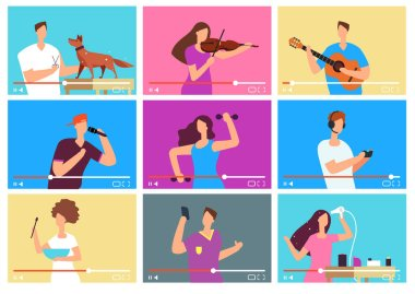 Video tutorials. People bloggers on video screen. Social media marketing. Tuber vector characters set