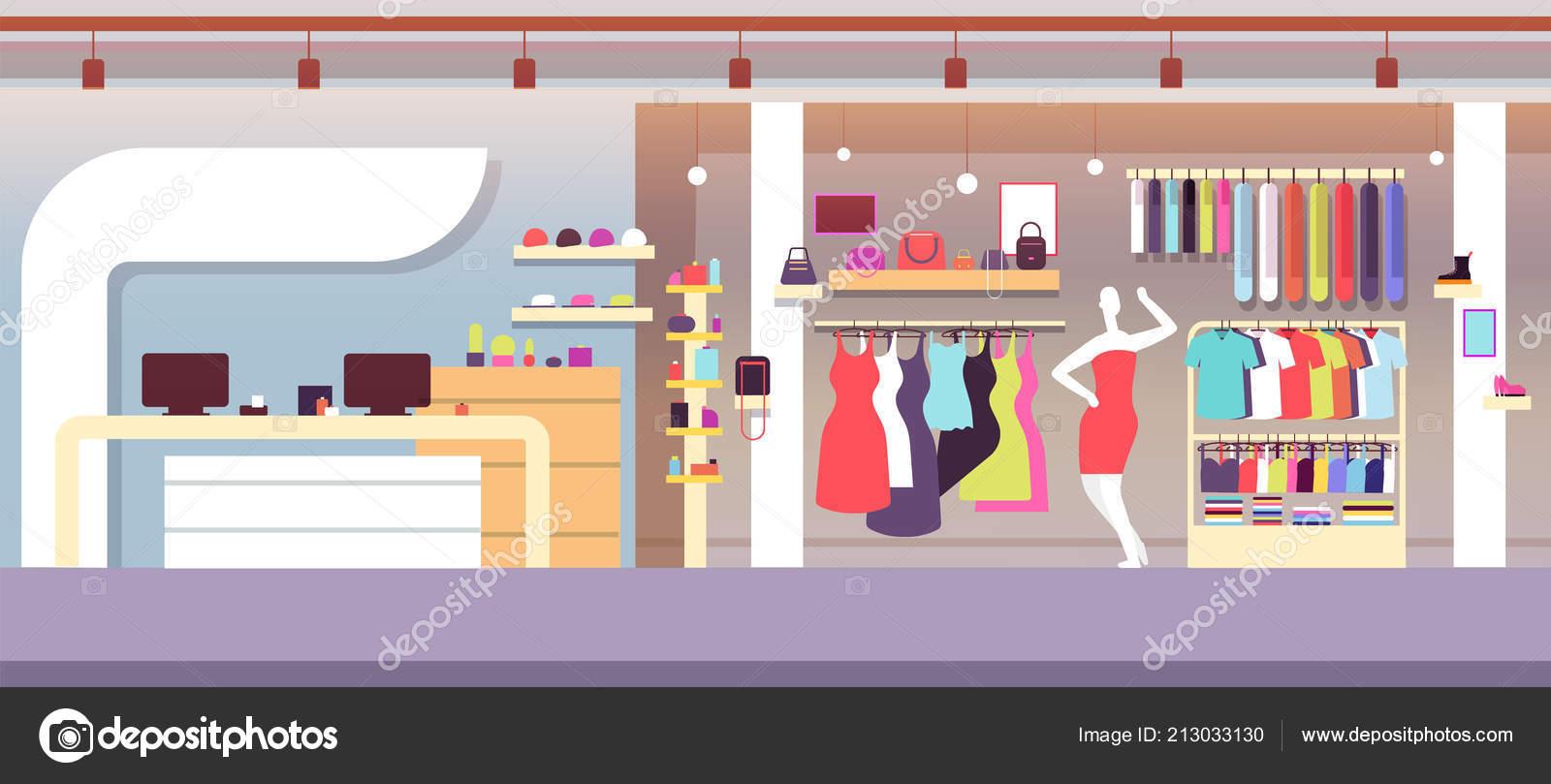 2a4c4ee66da7 Loja de moda. Loja de moda boutique com roupas femininas e bolsas de  mulheres. Centro comercial interior de vetor. Ilustração de varejo  interior, ...