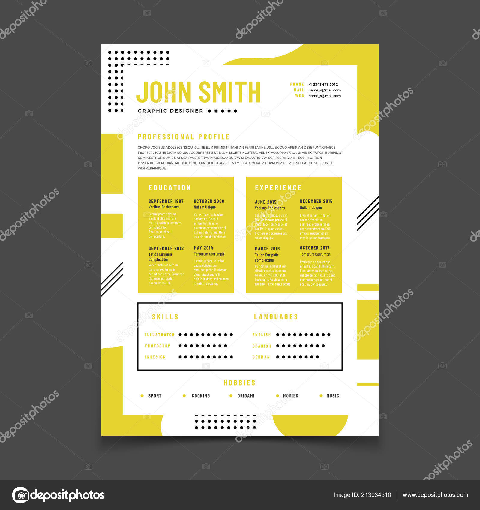 Cv Design Professional Resume With Business Details Curriculum And Best Job Vector Infographic Mockup Stock Illustration