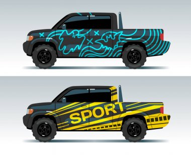 Racing car graphic. Truck wrapping background. Vehicle branding vector design