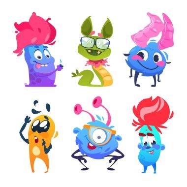 Cartoon monsters. Halloween gremlins. Funny vector monster characters