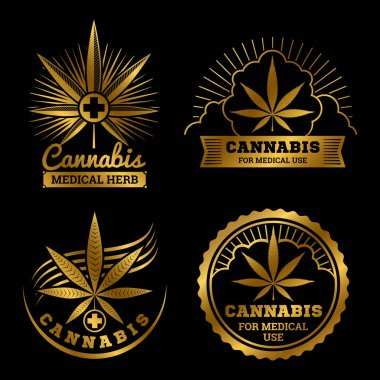 Cannabis banners or labels design. Medical logos vector set