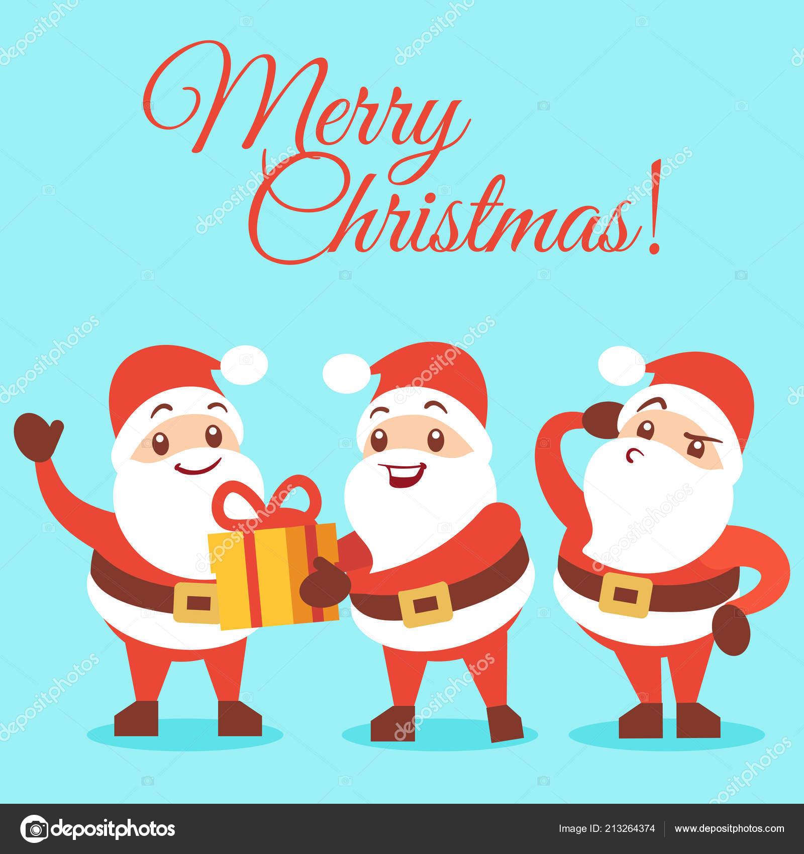 Comic Frohe Weihnachten.Frohe Weihnachten Hintergrund Mit Emotionalen Santa Comic Figuren
