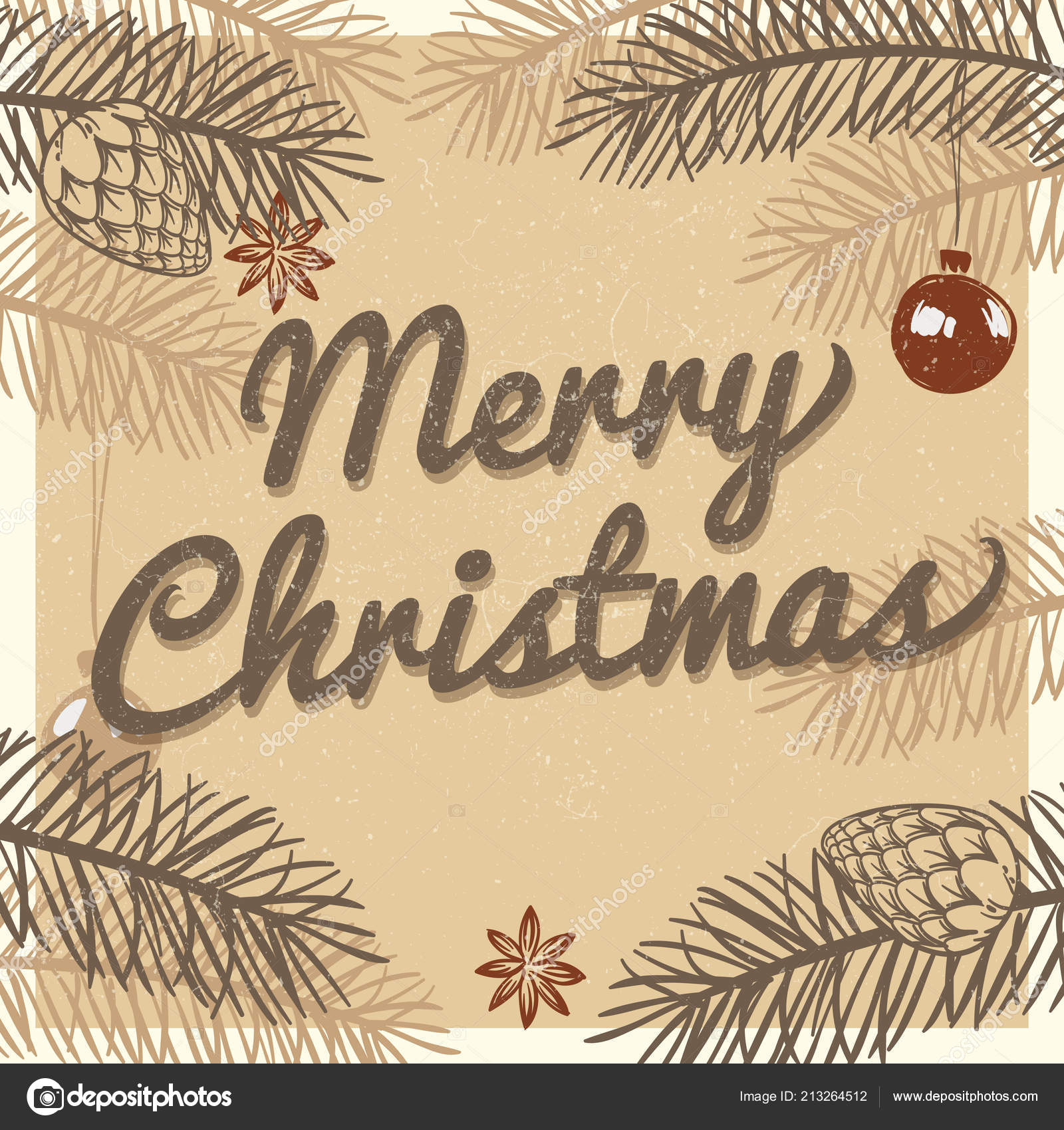 foto de Merry christmas vintage greeting card. Winter holiday vector ...