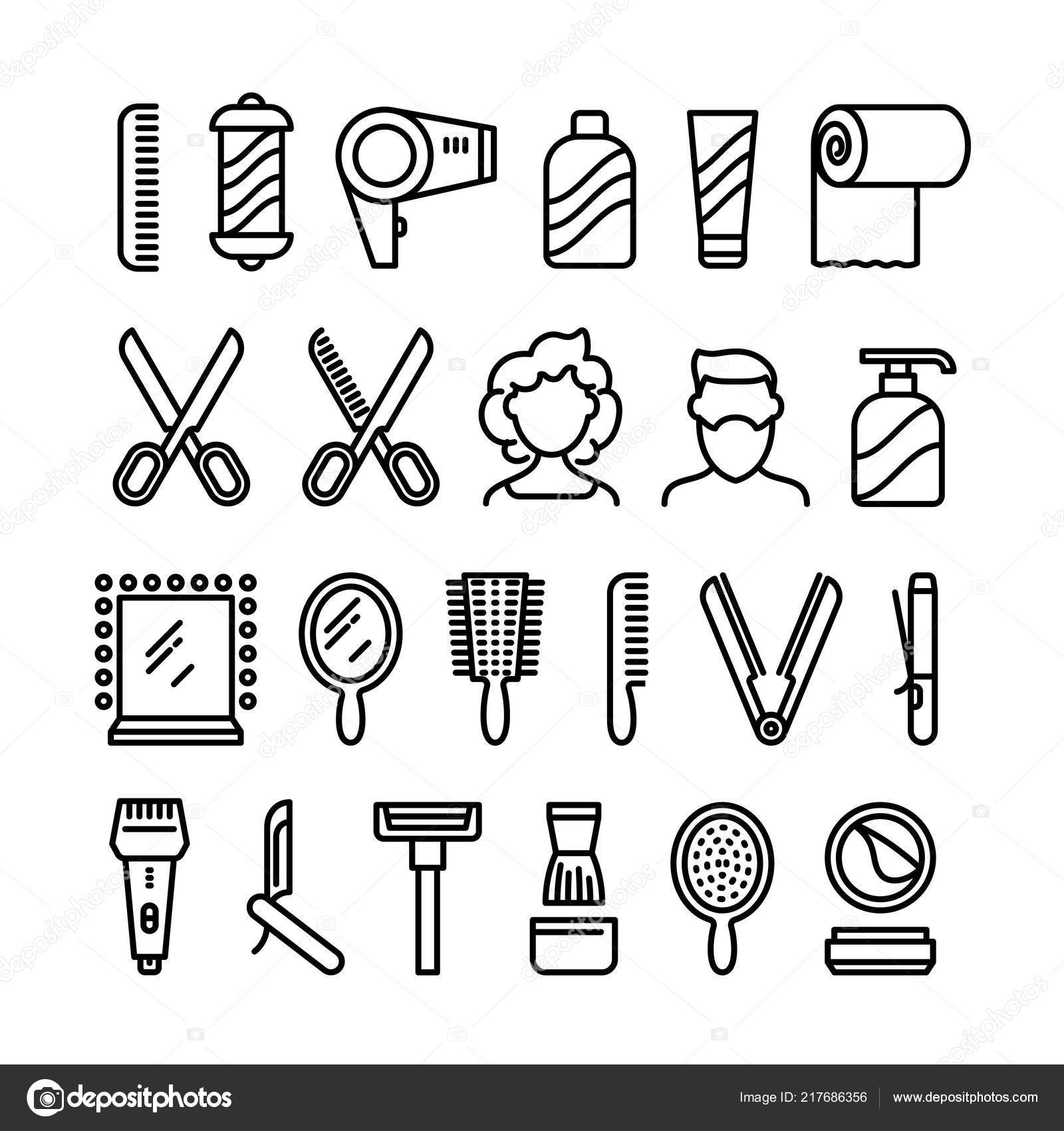 Haircut symbols | Hair salon icons. Beautiful hairstyle and ...