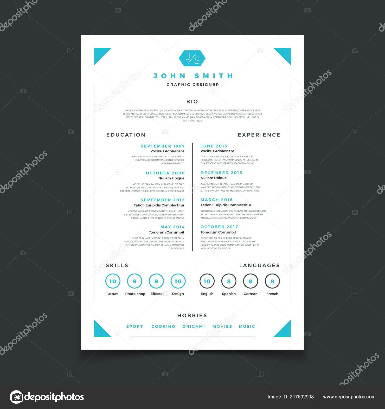 Cv Template Professional Resume Design With Business Details