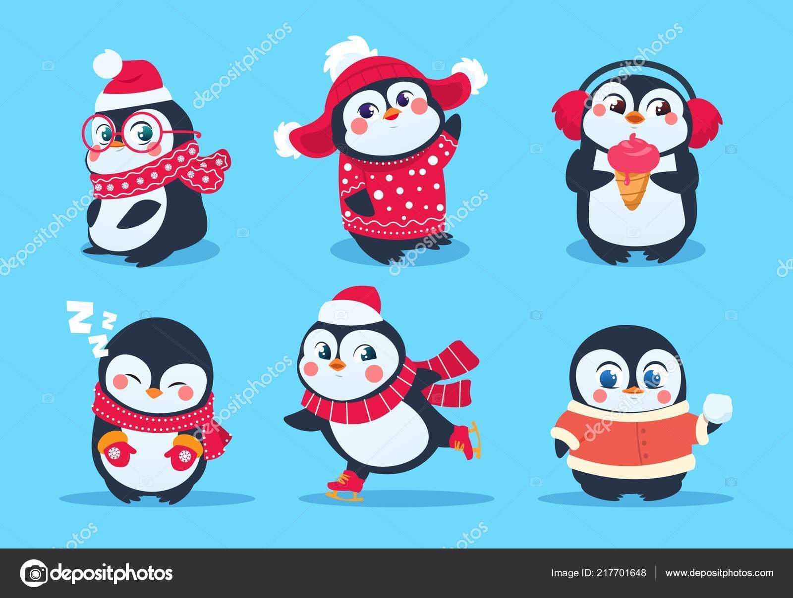 Pingüinos Personajes De Pingüino De Navidad En Ropa De Invierno